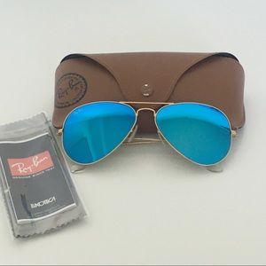 Ray-Ban Aviator Flash Lenses Blue/Gold Sunglasses